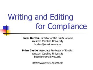 Writing and Editing  			for Compliance