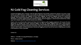 NJ Cold Fog Cleaning Services