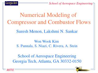 Numerical Modeling of  Compressor and Combustor Flows