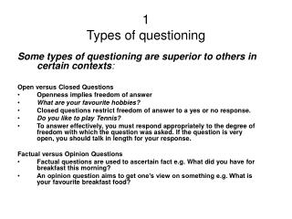 1 Types of questioning