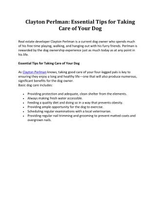 Clayton Perlman Dog Care Tips