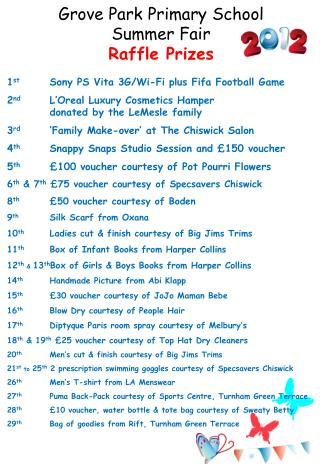 1 st  	Sony PS Vita 3G/Wi-Fi plus Fifa Football Game 2 nd 	L'Oreal Luxury Cosmetics Hamper 			donated by the LeMesle fam