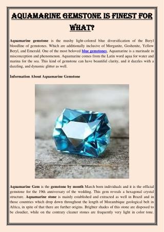 Aquamarine Gemstone Is Finest For What