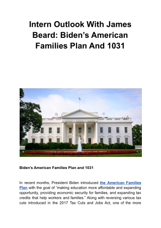 Intern Outlook With James Beard: Biden's American Families Plan And 1031