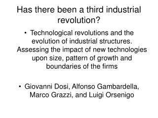 Has there been a third industrial revolution?