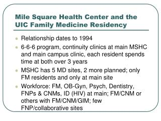 Mile Square Health Center and the UIC Family Medicine Residency