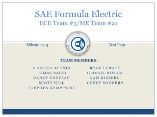 SAE Formula Electric ECE Team #3/ME Team #21