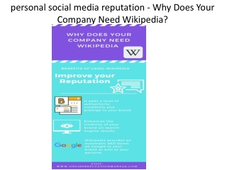 personal social media reputation - Why Does Your Company Need Wikipedia