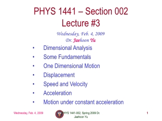 Lecture: Dimensional Analysis