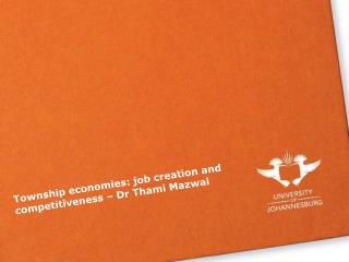 Township economies: job creation and competitiveness – Dr Thami Mazwai