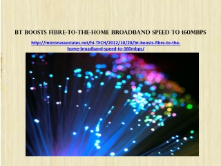 BT boosts fibre-to-the-home broadband speed to 160Mbps