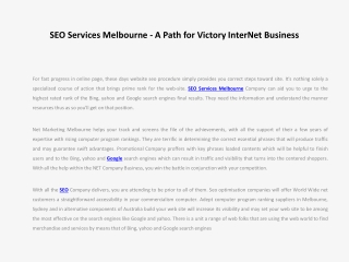 SEO Services Melbourne - A Path for Victory InterNet Busines