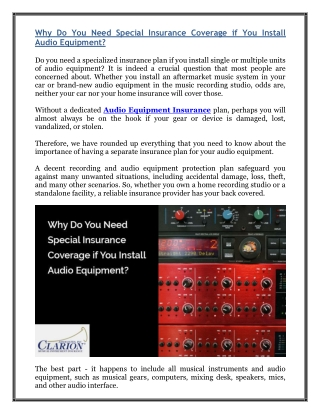 Why Do You Need Special Insurance Coverage if You Install Audio Equipment?
