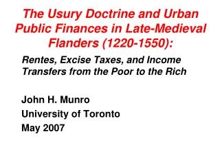 The Usury Doctrine and Urban Public Finances in Late-Medieval Flanders (1220-1550):