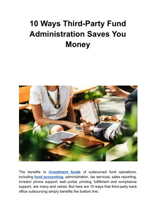 10 Ways Third-Party Fund Administration Saves You Money