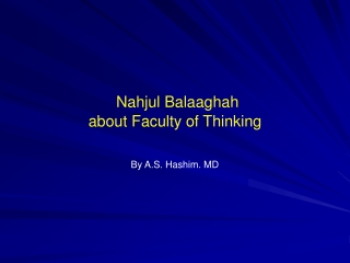 Nahjul Balaaghah about Faculty of Thinking
