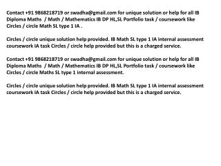 Circles IB Maths SL portfolio help, Circles IB Maths SL IA h