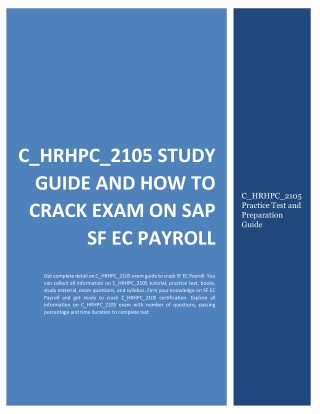C_HRHPC_2105 Study Guide and How to Crack Exam on SAP SF EC Payroll