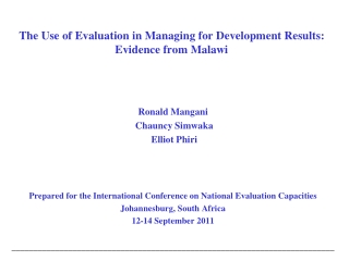 The Use of Evaluation in Managing for Development Results: Evidence from Malawi