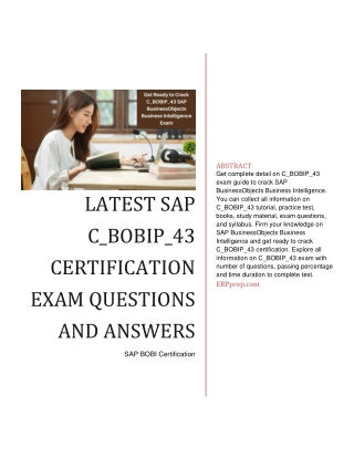 Latest SAP C_BOBIP_43 Certification Exam Questions and Answers