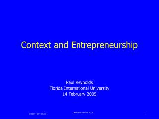 Context and Entrepreneurship