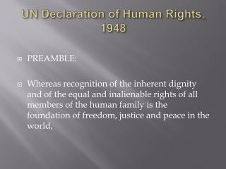UN Declaration of Human Rights, 1948