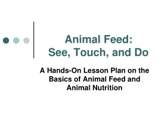 Animal Feed:  See, Touch, and Do