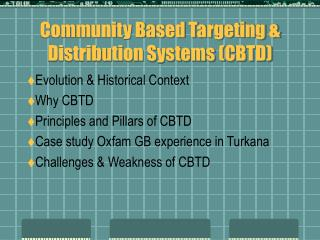 Community Based Targeting & Distribution Systems (CBTD)