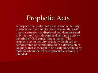 Prophetic Acts