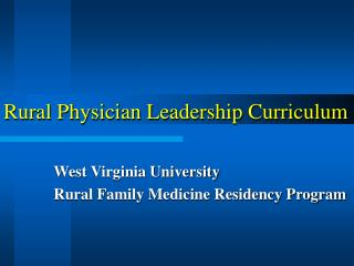 Rural Physician Leadership Curriculum