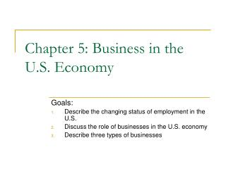 Chapter 5: Business in the U.S. Economy