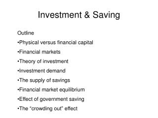 Investment & Saving