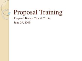 Proposal Training