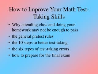 How to Improve Your Math Test-Taking Skills