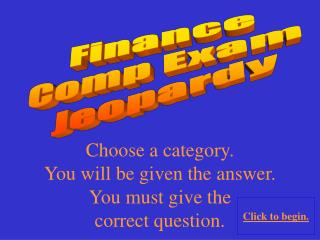 Finance C omp  Exam  Jeopardy