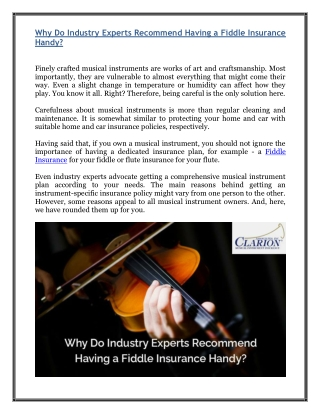 Why Do Industry Experts Recommend Having a Fiddle Insurance Handy?