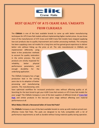 Best Quality of A75 Crane Rail Variants from Clikrails