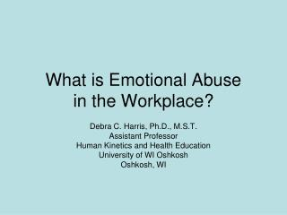 What is Emotional Abuse in the Workplace?