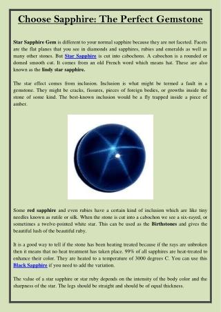 Choose Sapphire The Perfect Gemstone