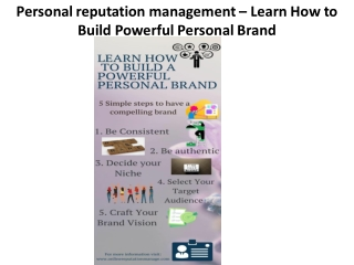 Personal reputation management – Learn How to Build Powerful PersonalBrand
