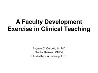 A Faculty Development Exercise in Clinical Teaching