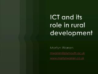 ICT and its role in rural development