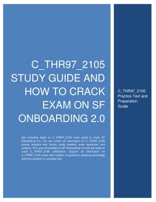 C_THR97_2105 Study Guide and How to Crack Exam on SF Onboarding 2.0