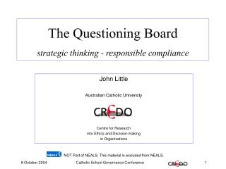 The Questioning Board strategic thinking - responsible compliance