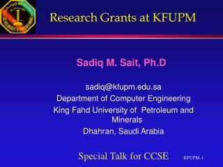 Research Grants at KFUPM