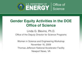 Gender Equity Activities in the DOE Office of Science