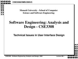 Software Engineering: Analysis and Design - CSE3308