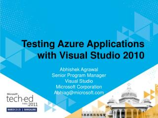 Testing Azure Applications with Visual Studio 2010