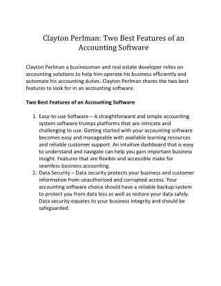 Clayton Perlman: Best Features of an Accounting Software