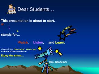 Dear Students…
